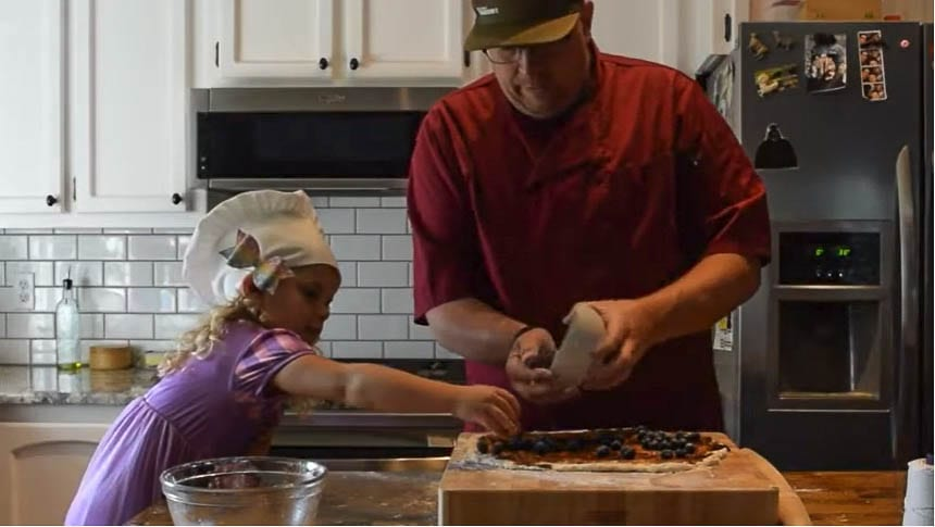 Prairie High School Culinary Arts teacher Britt Pedlar gives a recipe demonstration from his home kitchen. Photo courtesy of Battle Ground Public Schools