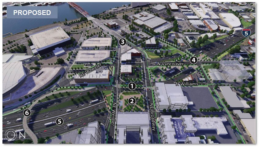 The Oregon I-5 Rose Quarter project includes two highway covers over the interstate plus a bike/pedestrian bridge. It extends auxiliary lanes, but adds no new through lanes to I-5. Graphic from ODOT