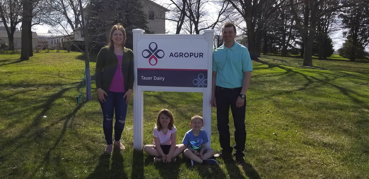 David and Angie Tauer and their family own and operate Tauer Dairy in Hanska, Minnesota with 250 milking cows on 480-acres. Photo courtesy Washougal School District