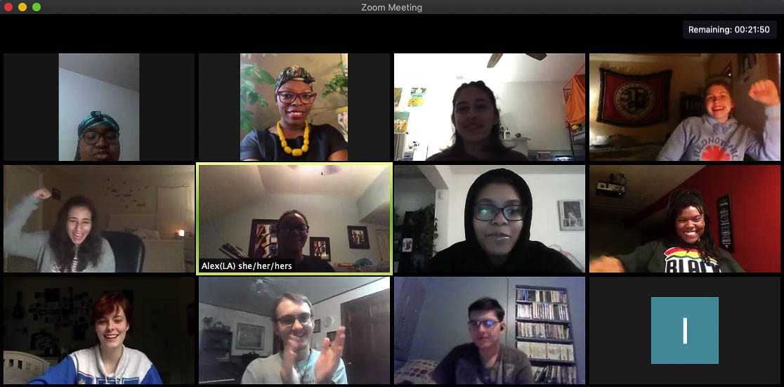 The Red Team for the Equity in Civics Youth Fellowship meets on a Zoom call earlier this month as part of the collaborative process. Photo courtesy of Ellie Durgarian