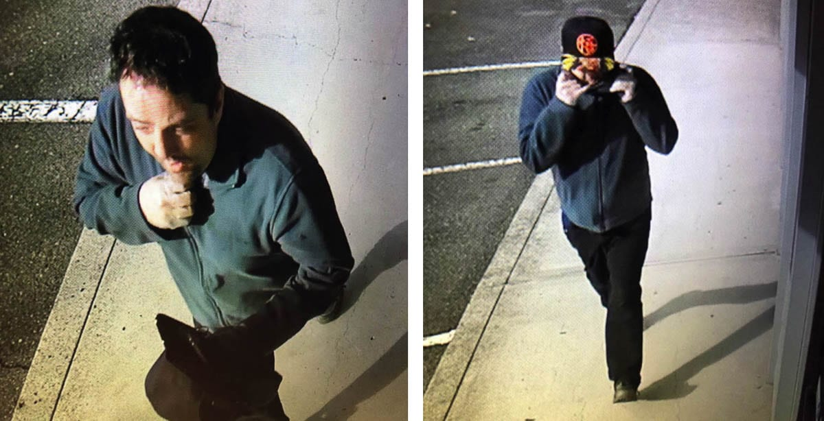 The Vancouver Police Department is looking for this suspect that robbed a Riverview Community Bank branch Tuesday afternoon. Photo courtesy of Vancouver Police Department