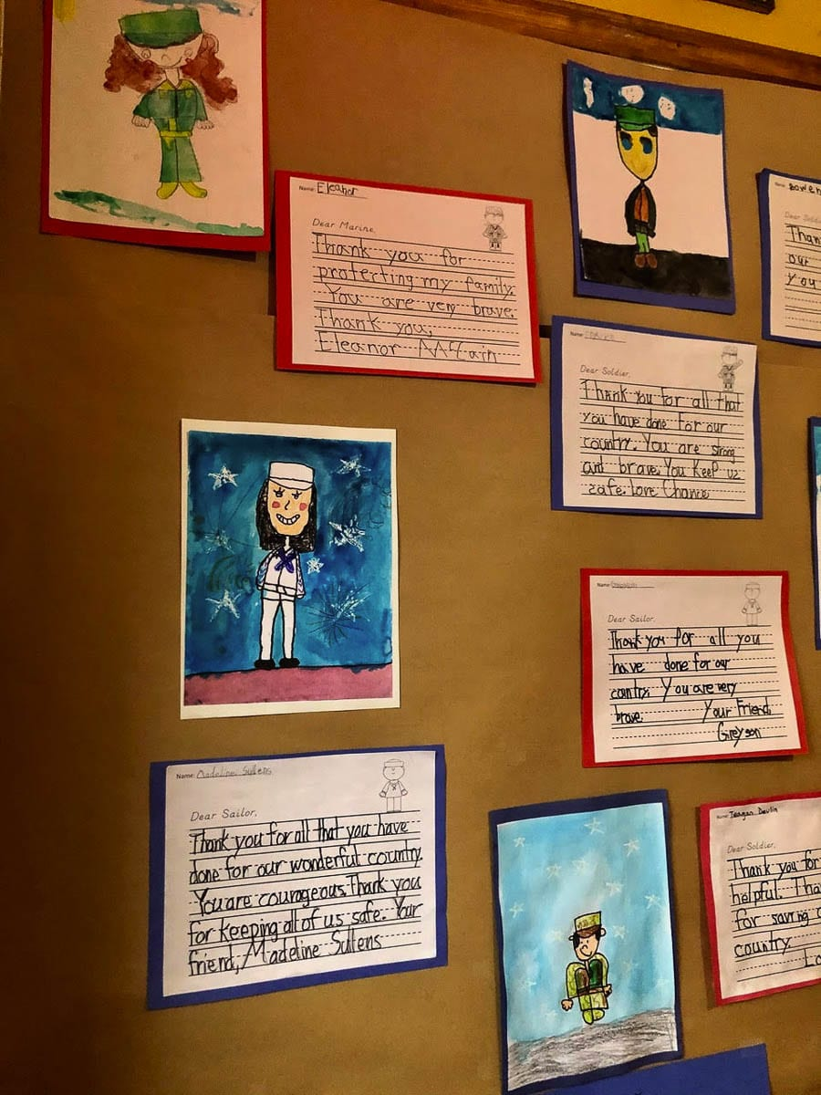 Seasons Coffee Shop put up an entire wall of artwork and letters from students at Union Ridge Elementary. Photo courtesy of Ridgefield School District