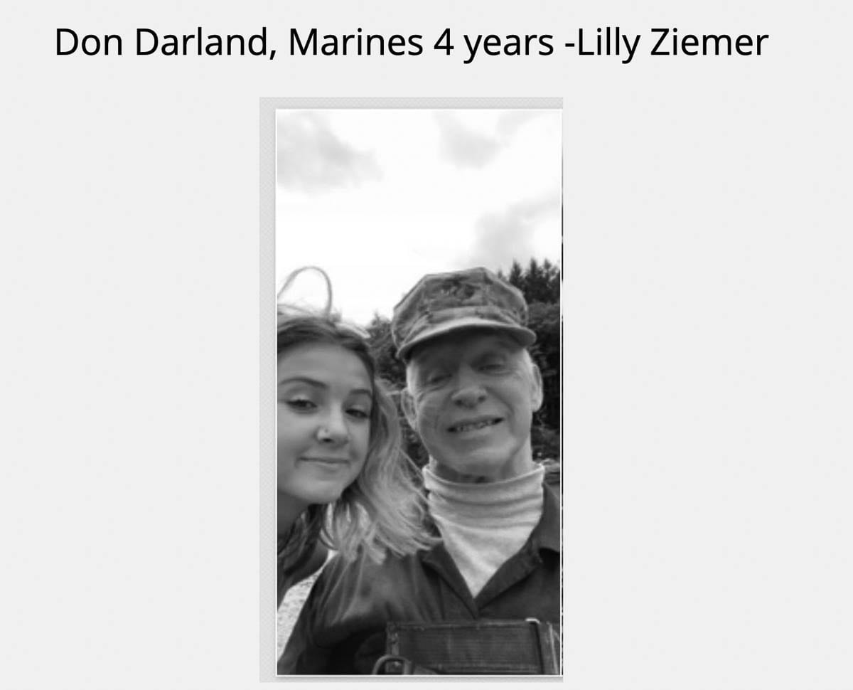 Ridgefield High School's ASB students created a slideshow featuring students with family members who had served in the military, including Lilly Ziemer and Don Darland. Photo courtesy of Ridgefield School District