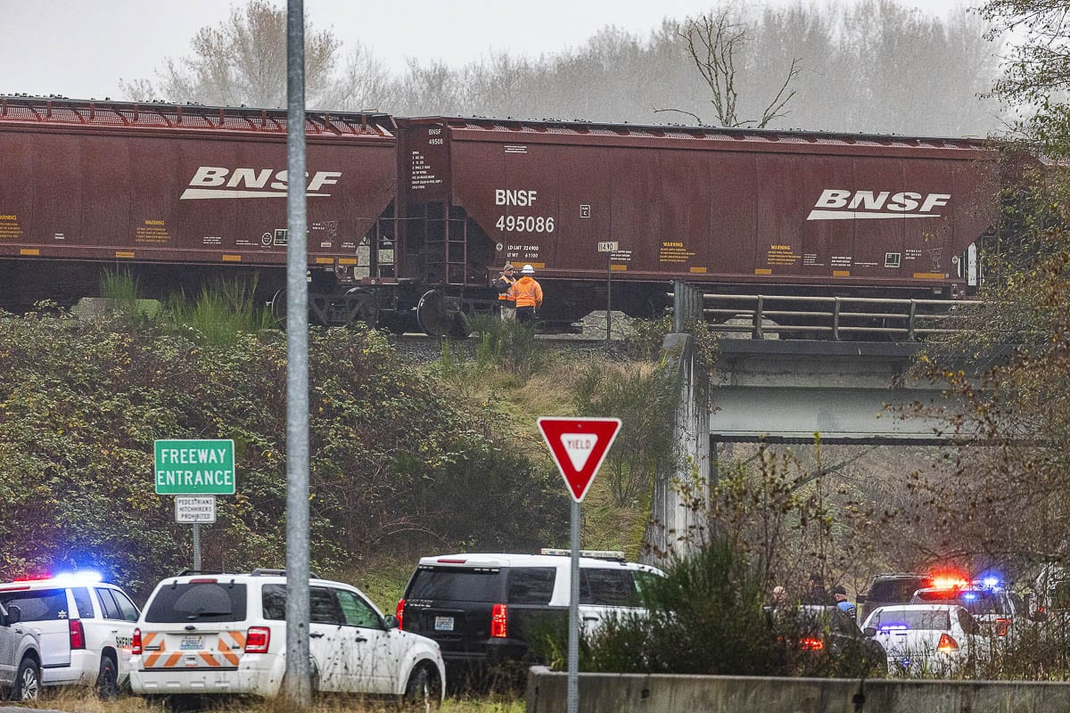 An unidentified female was killed Monday when she was hit by a train on the tracks just south of Dike Access Road near Woodland. Photo by Mike Schultz