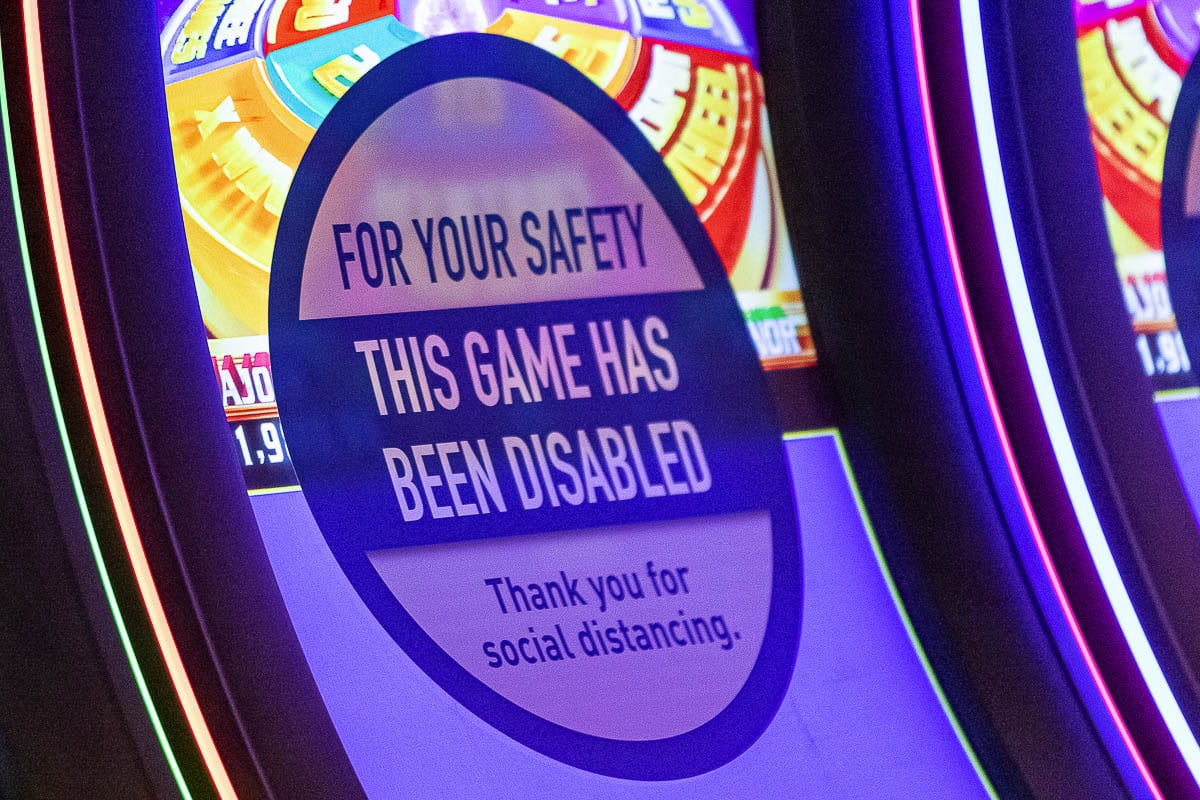 Among the safety protocols at ilani are the powering off of several gaming machines, ensuring social distancing between guests. Photo by Mike Schultz