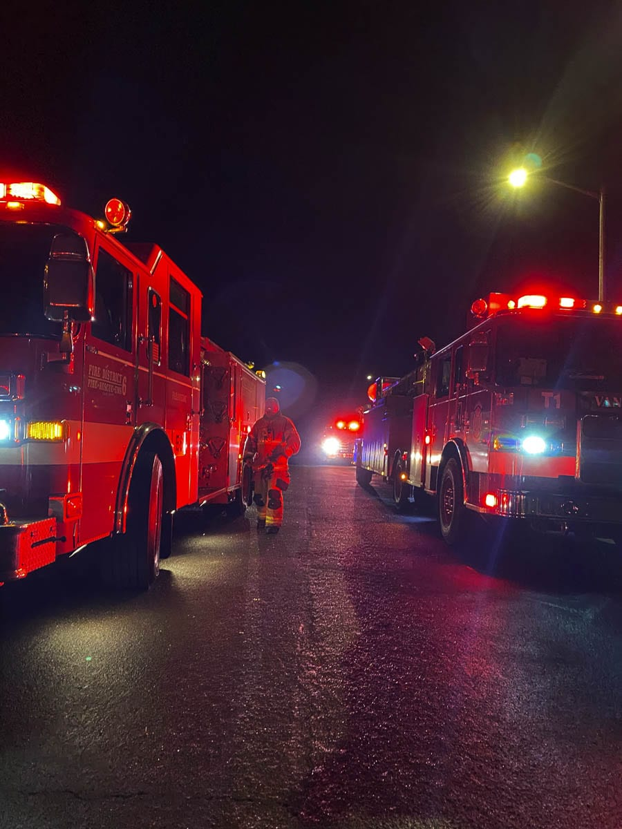 When firefighters arrived they found the three-level home was fully involved. Flames were shooting out the front of the home, and three residents and one dog had already evacuated. Photo courtesy of Clark County Fire District 6