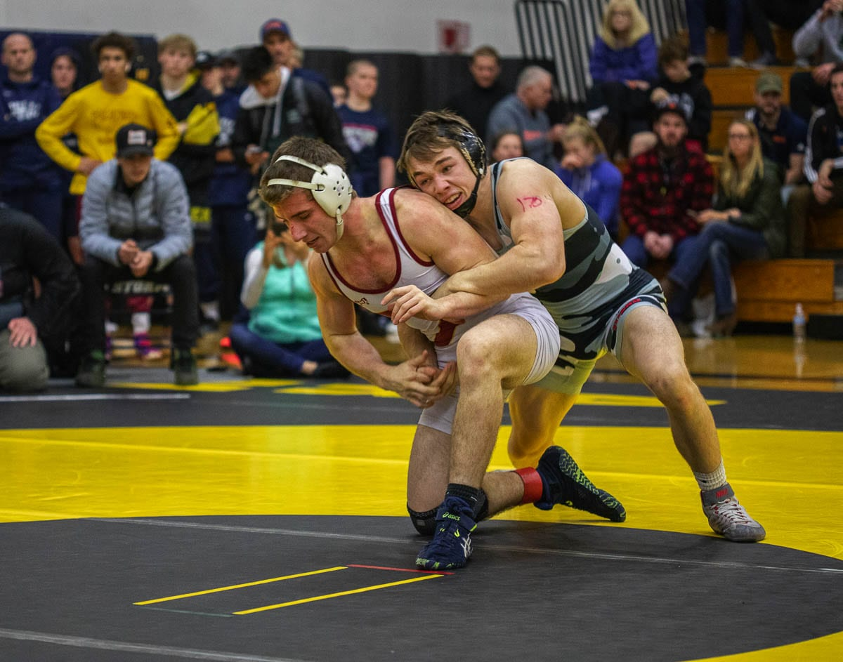 Kyle Brosius, right, of Union was one of four Clark County wrestlers to win at Pac Coast last year. (This photo is from the Clark County Championships.) He would go on to win a state championship. Photo by Jacob Granneman
