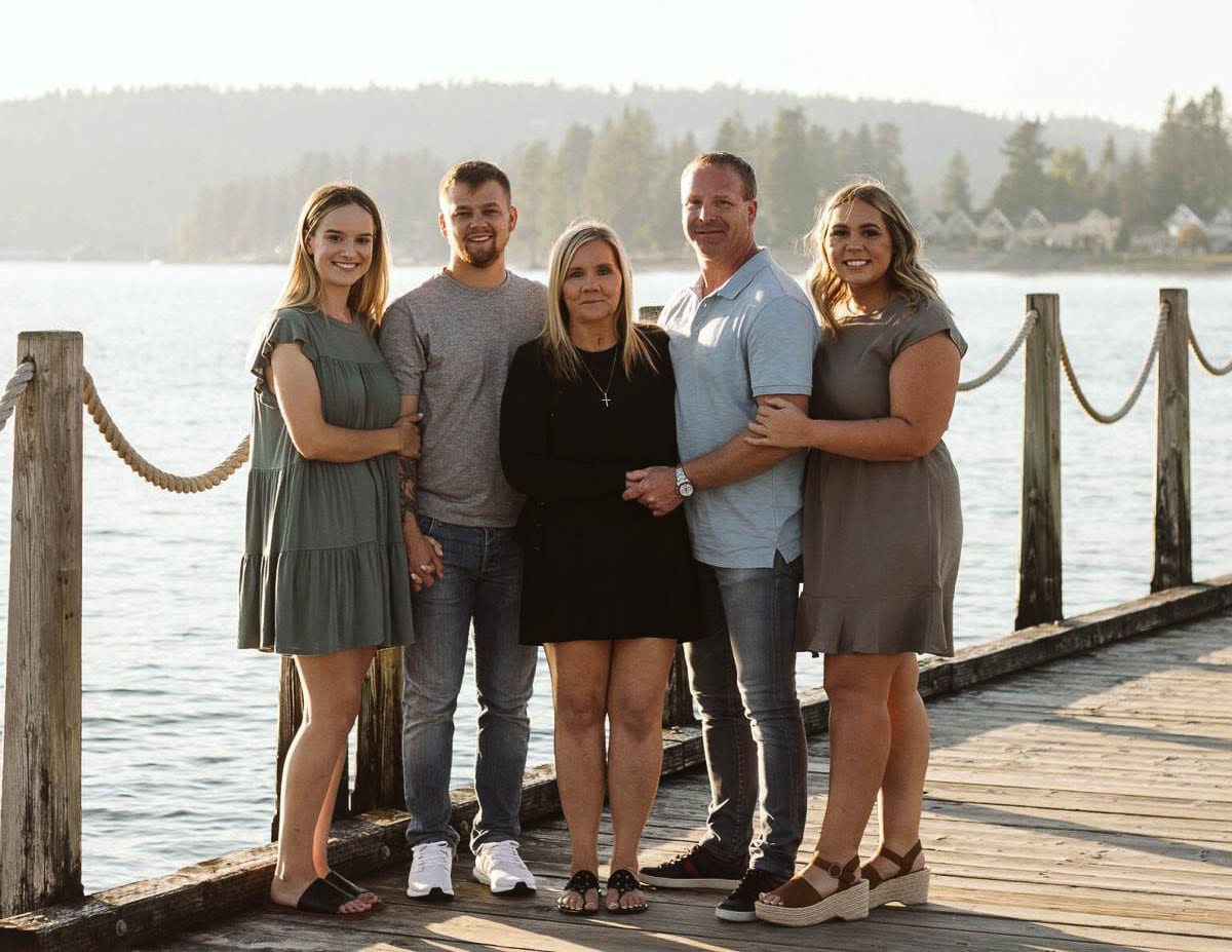 From left, Melynn Jorgensen, Franklin Taylor, Coralee Taylor, Chad Taylor and Amber Taylor pose for a family photograph. Photo courtesy of The Reflector Newspaper