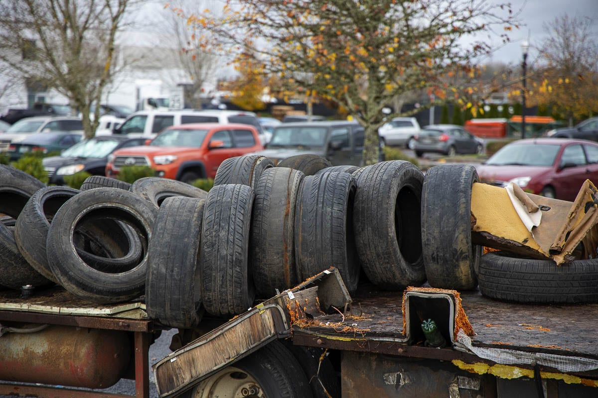 Tires on the back of an abandoned truck near SE Commerce Ave. in Battle Ground. Photo by Chris Brown