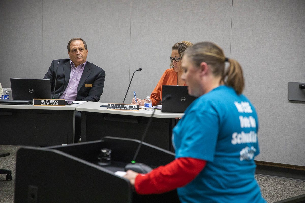 Battle Ground Public Schools Superintendent Mark Ross (background) listens during public testimony regarding Comprehensive Sexual Education curriculum in 2019. Photo by Mike Schultz