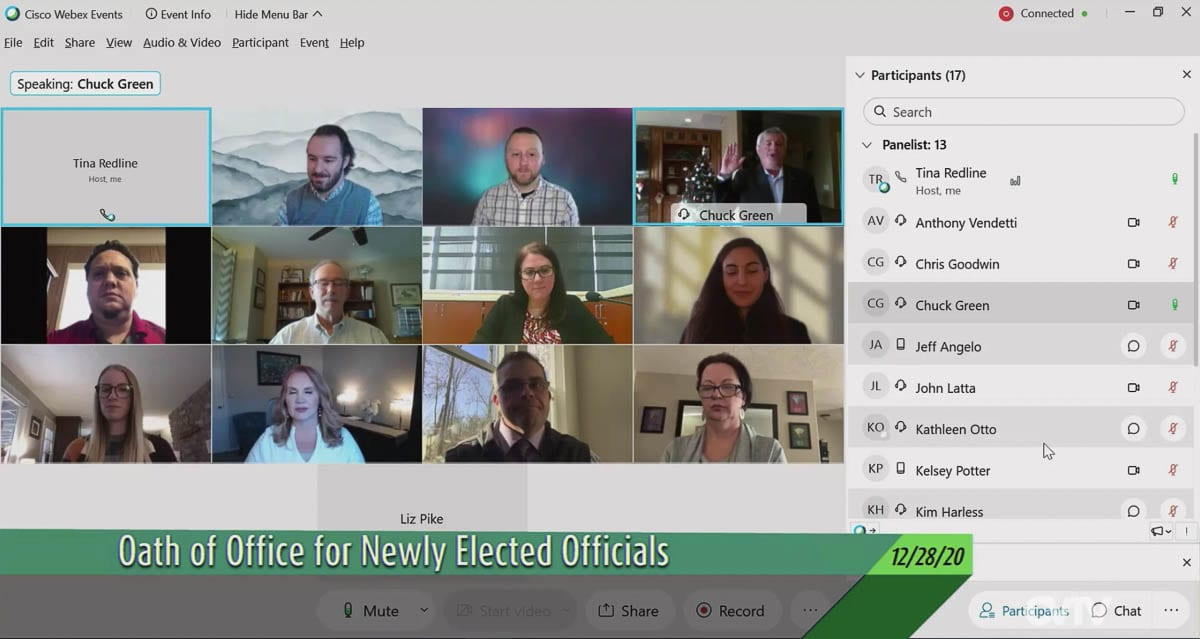 Newly elected members of the Clark County Charter Review Commission are seen on a video call here, being sworn in by county staff. Photo courtesy of CVTV.org