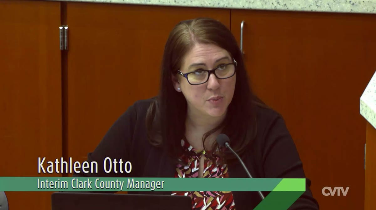 Clark County Manager Kathleen Otto speaks to the newly elected members via a Webex call broadcast on Clark-Vancouver Television. Photo courtesy of CVTV.org