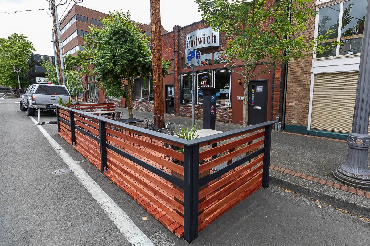 A parklet outside City Sandwich in downtown Vancouver went up after restrictions on dine-in service during the pandemic. Photo by Mike Schultz