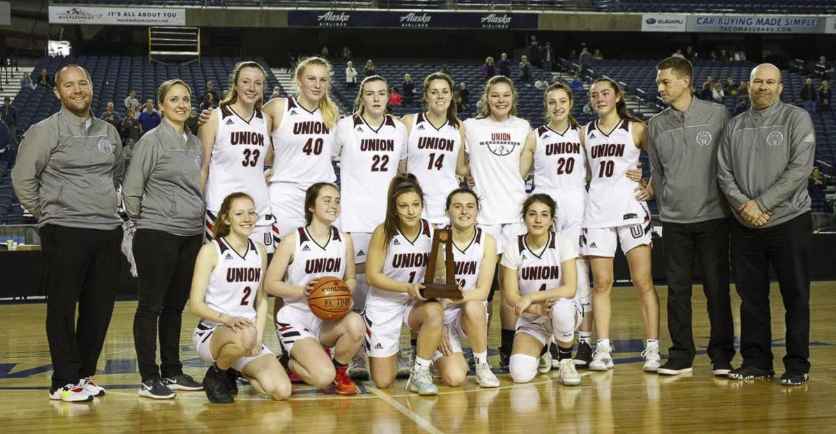 The Union girls basketball team finished fifth, earning a trophy at state for the first time in program history. This was one of the last high school sporting events to be played in 2020. Photo courtesy Heather Tianen