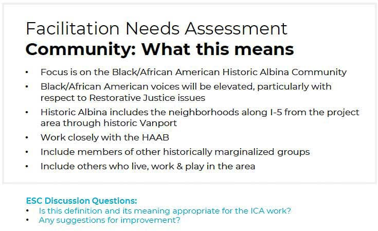 Multiple groups will be formed for community engagement and input. A key part will be addressing the divide created in the Albina community. Graphic by RQIP