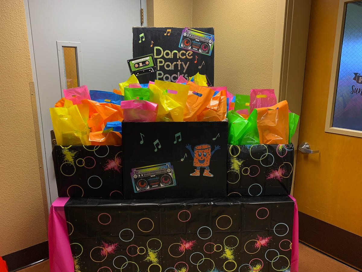 The PTO made a display so parents could drive through to pick up goody bags before the dance. Photo courtesy of Ridgefield School District