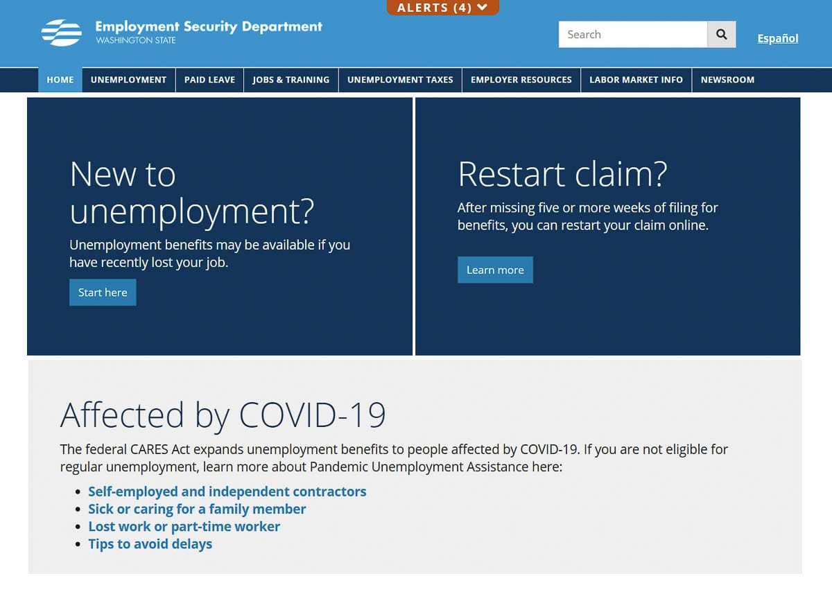 The Employment Security Department website front page