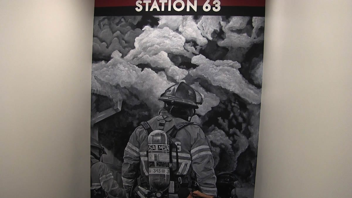 The mural was adopted from an actual photo of District 6 firefighters responding to a call. Those in the painting still work at the station. Photo courtesy of Fire District 6