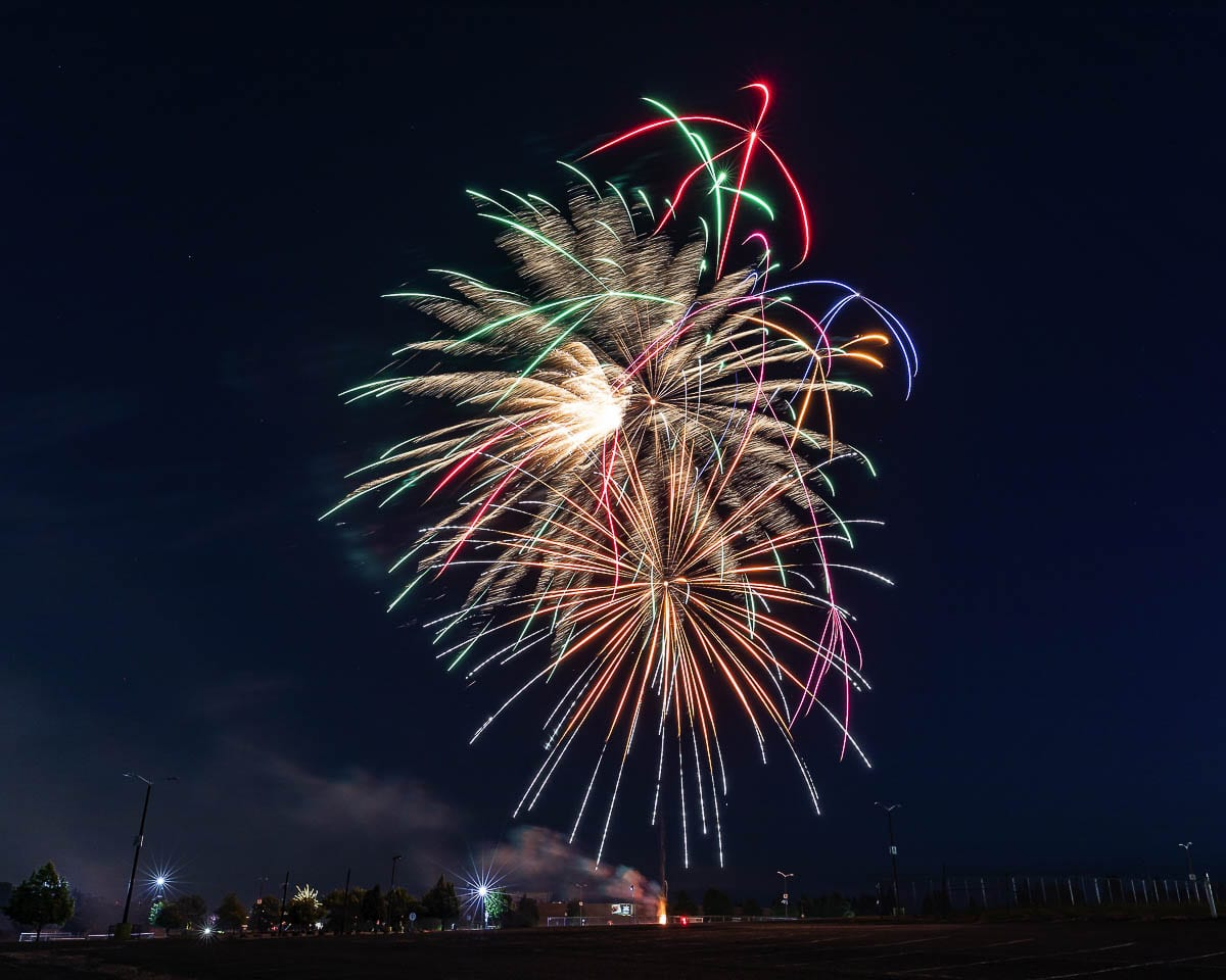 Fireworks at the Clark County Fairgrounds last July 4th. Photo by Mike Schultz