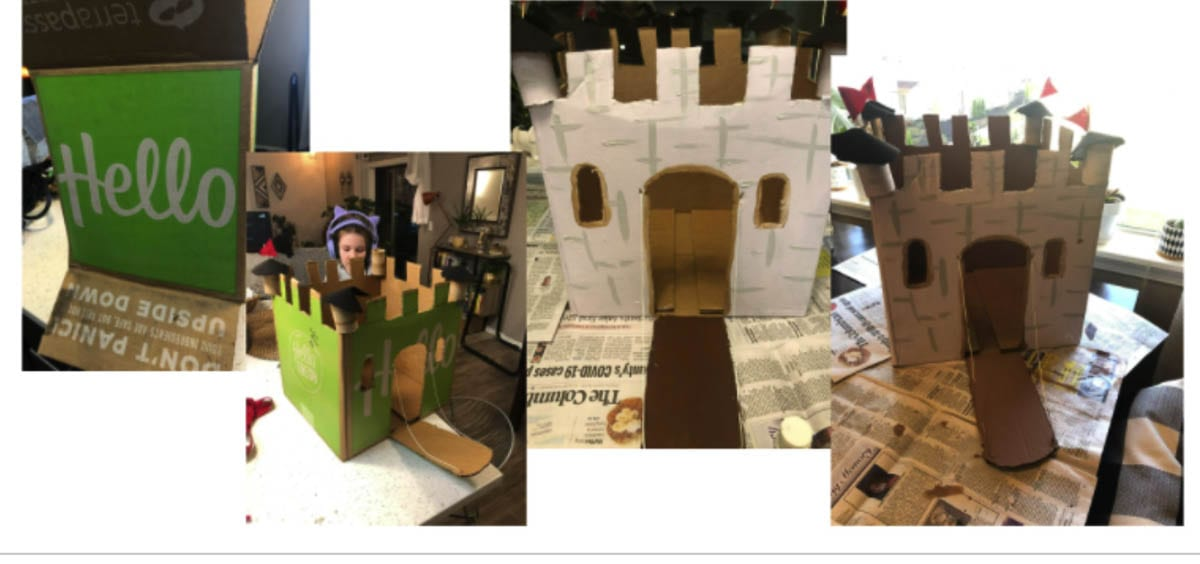 Gause Elementary School fourth graders recently participated in an assignment to design and build a medieval castle using supplies from home. Photo courtesy of Washougal School District