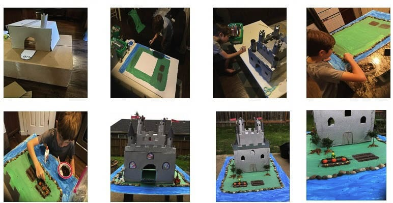 Each castle had mandatory elements that included a main gate or drawbridge, turrets or towers, cut out windows, battlements and flags. Photo courtesy of Washougal School District