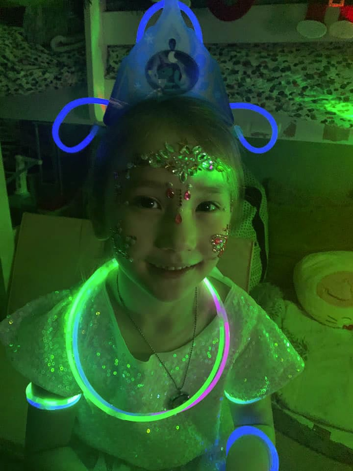 First grader Harper Rashoff got all decked out for the virtual dance. Photo courtesy of Heidi McCoy Rashoff