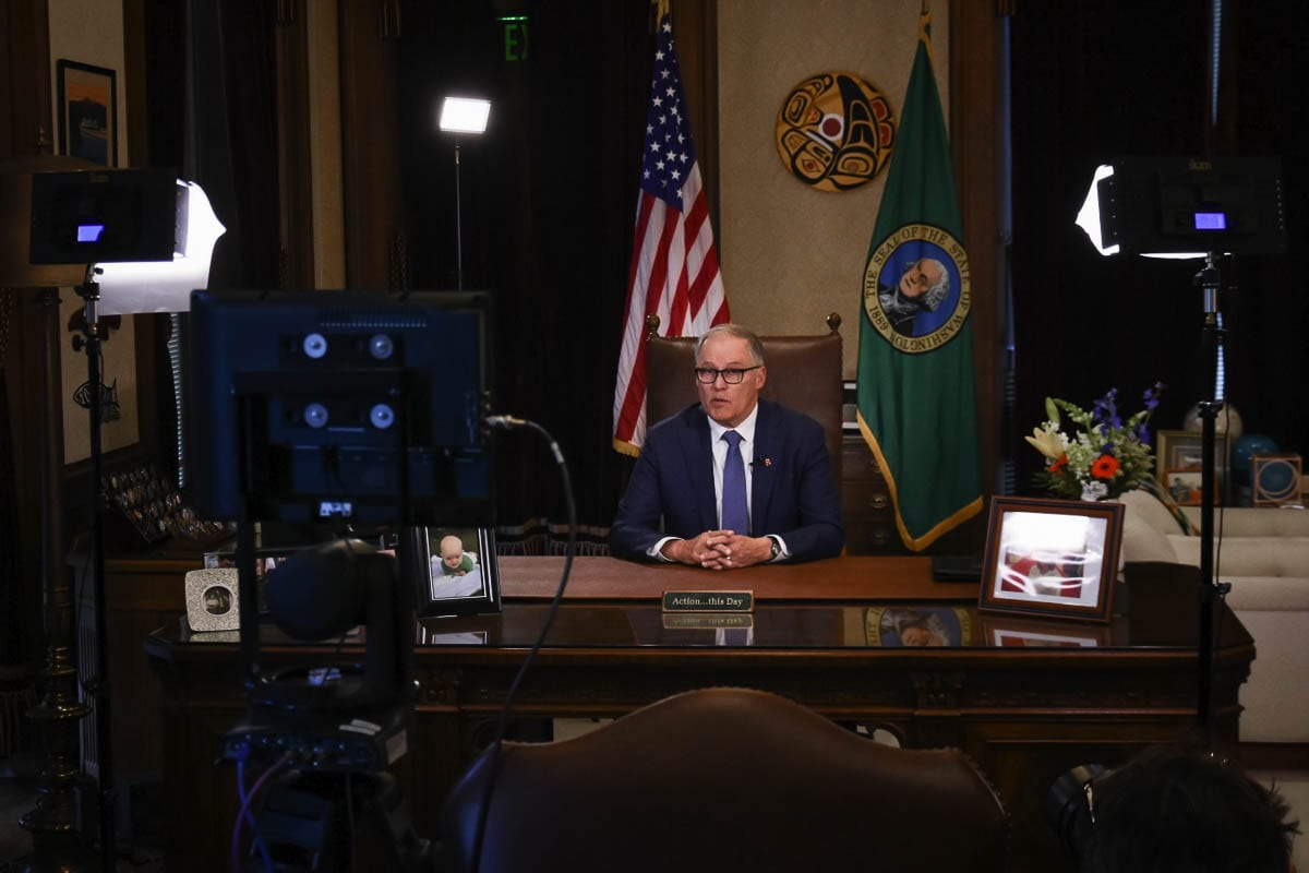 Washington Gov. Jay Inslee at a press conference in March, 2020. Photo courtesy Office of Washington Governor