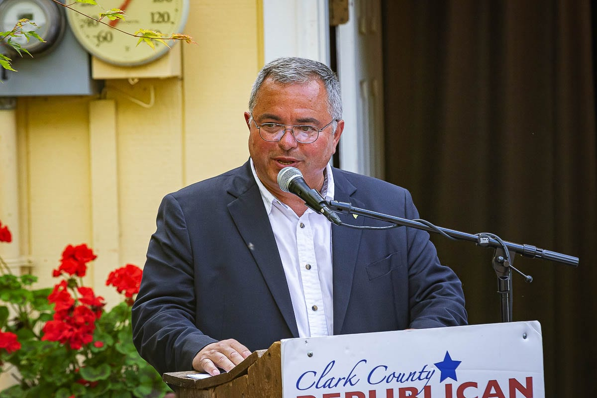 Washington Republican gubernatorial candidate Loren Culp is shown here at a campaign event in Camas last July. Photo by Mike Schultz