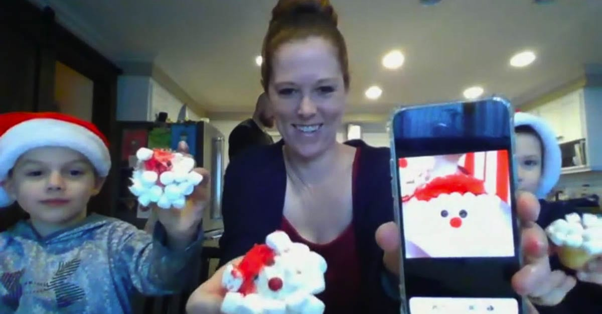 Kayla Mitchell with her sons, Jaden and Ronin, decorated Santa cupcakes. Photo courtesy of Ridgefield School District