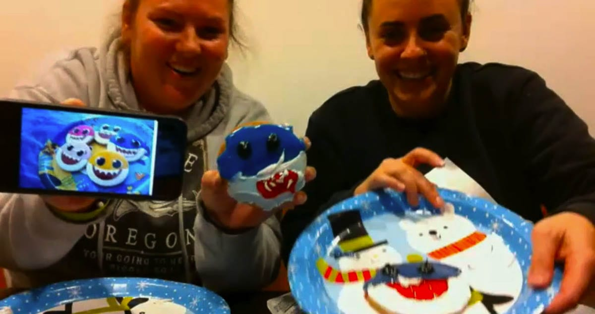 Paraprofessional, Nicole Colpron, and her friend, Ariel, made shark cookies. Photo courtesy of Ridgefield School District