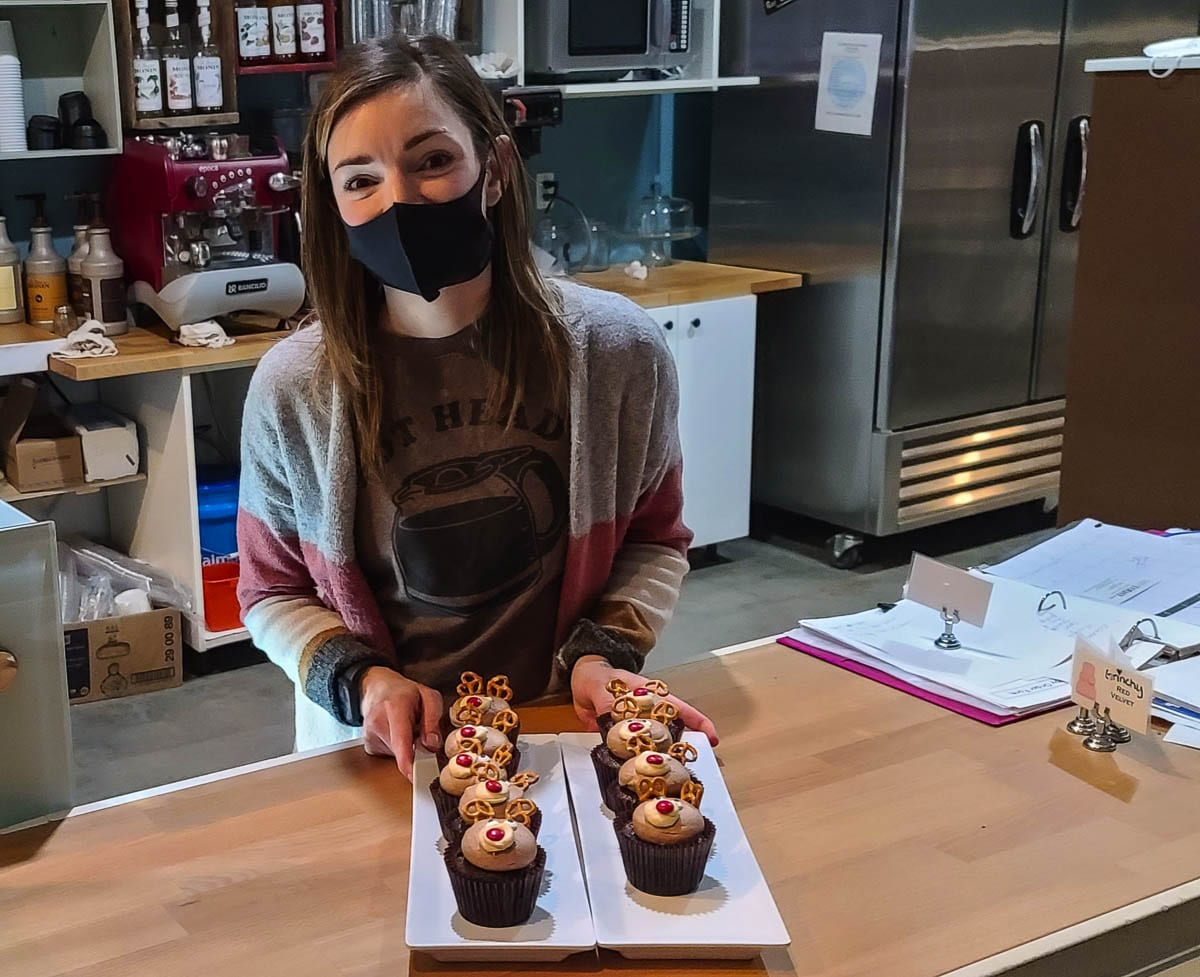 Nikki O'Keefe, owner of Cake Happy, shows off her chocolate peanut butter reindeer cupcakes on Tuesday. She said the Camas community has done a great job of supporting small businesses during the pandemic. Photo by Paul Valencia