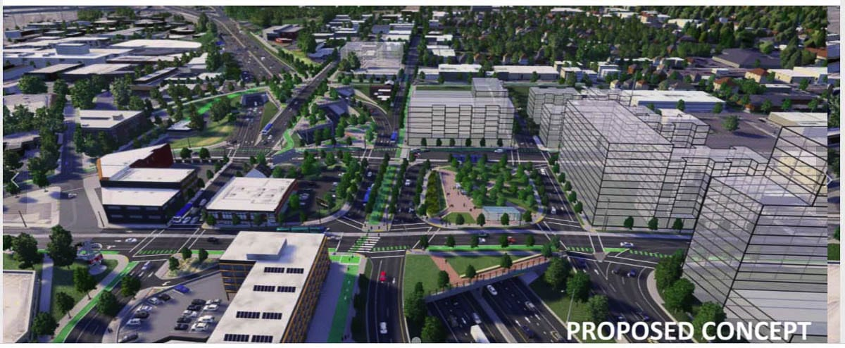 Many highway cover options include a mix of public open spaces and real estate development where a combination of public and private funding paid for the construction, and shared future maintenance and governance. Graphic by RQIP