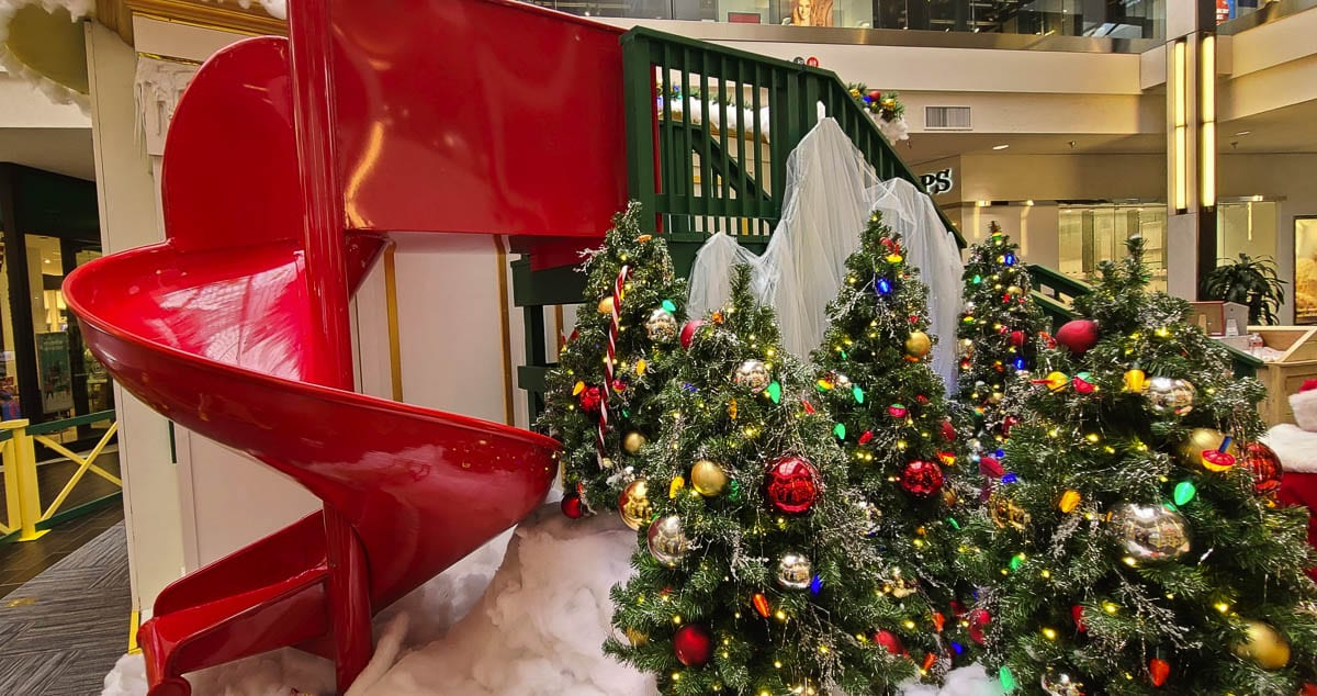 This year, the slide is just for decoration. No one is allowed to use the slide at the set of A Christmas Story at the Vancouver Mall. Photo by Paul Valencia