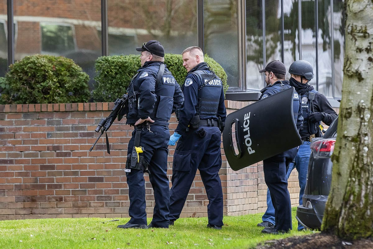 Just after 1 p.m. Tuesday, police were called to a reported shooting at 505 NE 87th Avenue in Vancouver, WA., a medical facility adjacent to PeaceHealth Southwest Medical Center. Photo by Mike Schultz