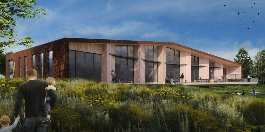 This rendering displays the proposed clubhouse space at Ninebark which would feature bike, paddle board and kayak storage, as well as co-working spaces. Graphic courtesy of Killian Pacific