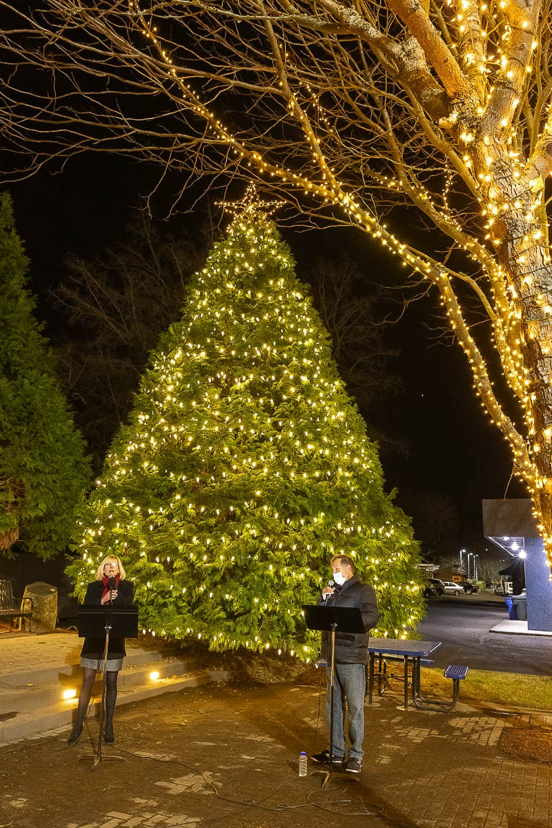 The city of Washougal held its annual Tree Lighting Ceremony Thursday evening but this year, due to COVID-19 restrictions, the event was held in a virtual format. Photo by Mike Schultz