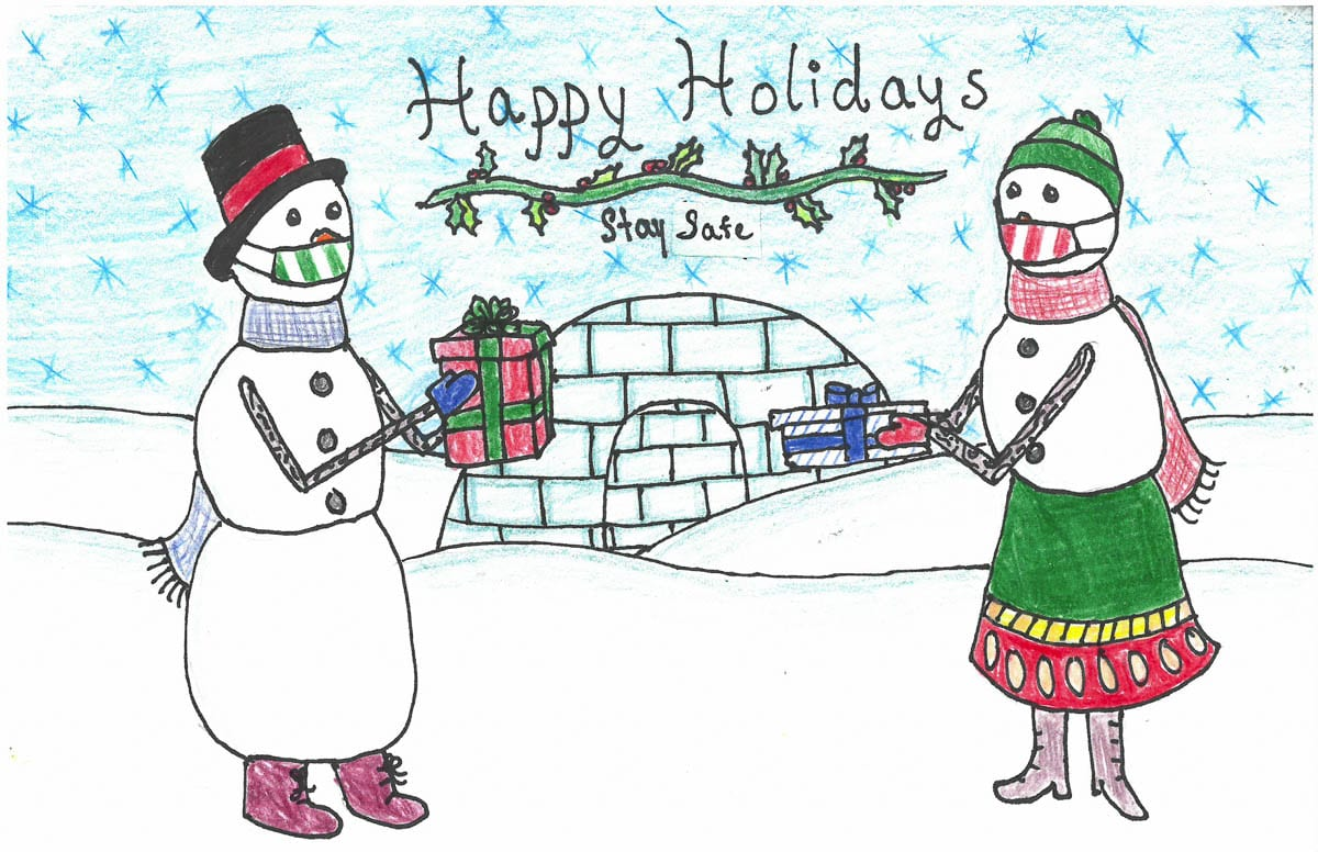 Amelia Natterstad, a seventh grader at View Ridge Middle School was awarded first-place for this design in Ridgefield School District's Holiday Greeting Card Art Contest. Photo courtesy of Ridgefield School District