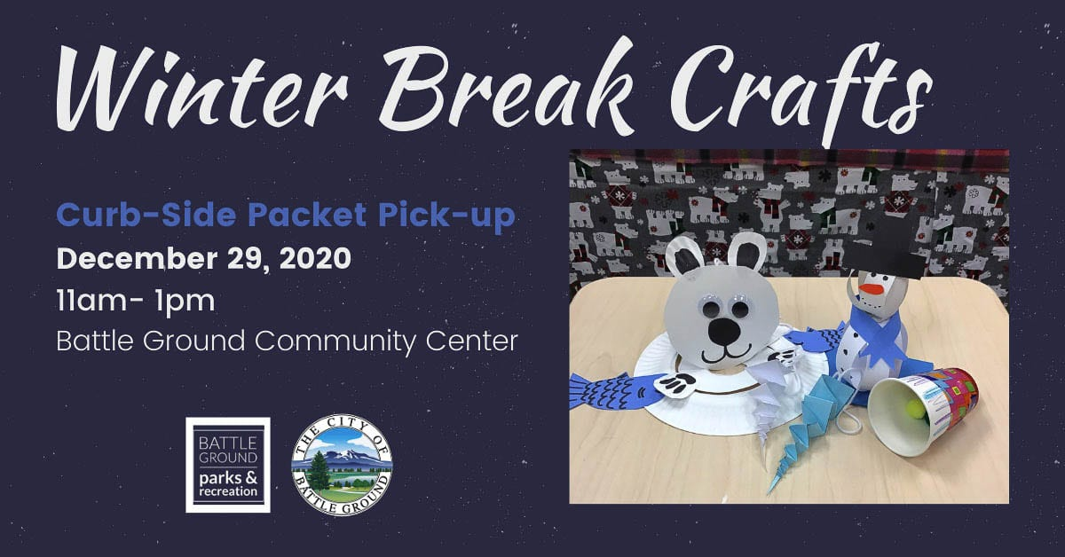 Free craft project supply packets for curbside pickup and video instruction makes crafting during winter break fun and easy.