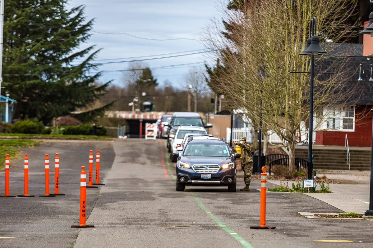 Cars line up at the Clark County Fairgrounds mass vaccination site. Photo by Mike Schultz