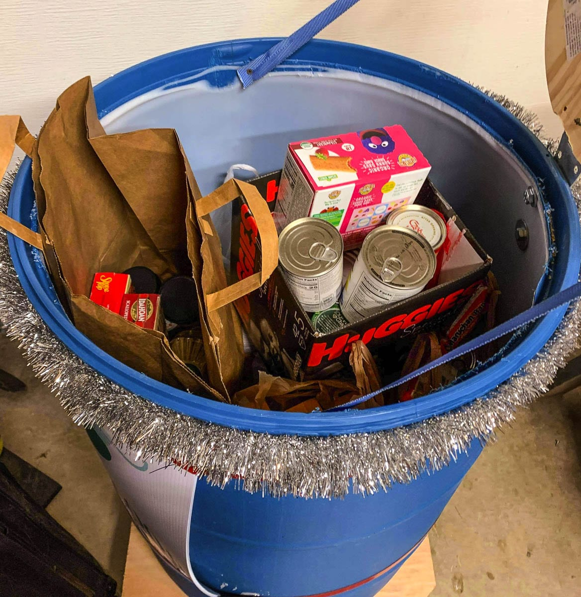 Generous donations enabled the FCRC to make food and supply buckets for the needy. Photo courtesy of Woodland School District