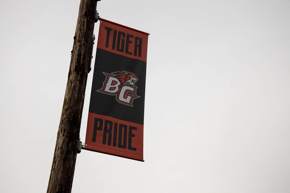 Banners along Main Street in Old Town Battle Ground were paid for mostly by the school district. Photo by Chris Brown