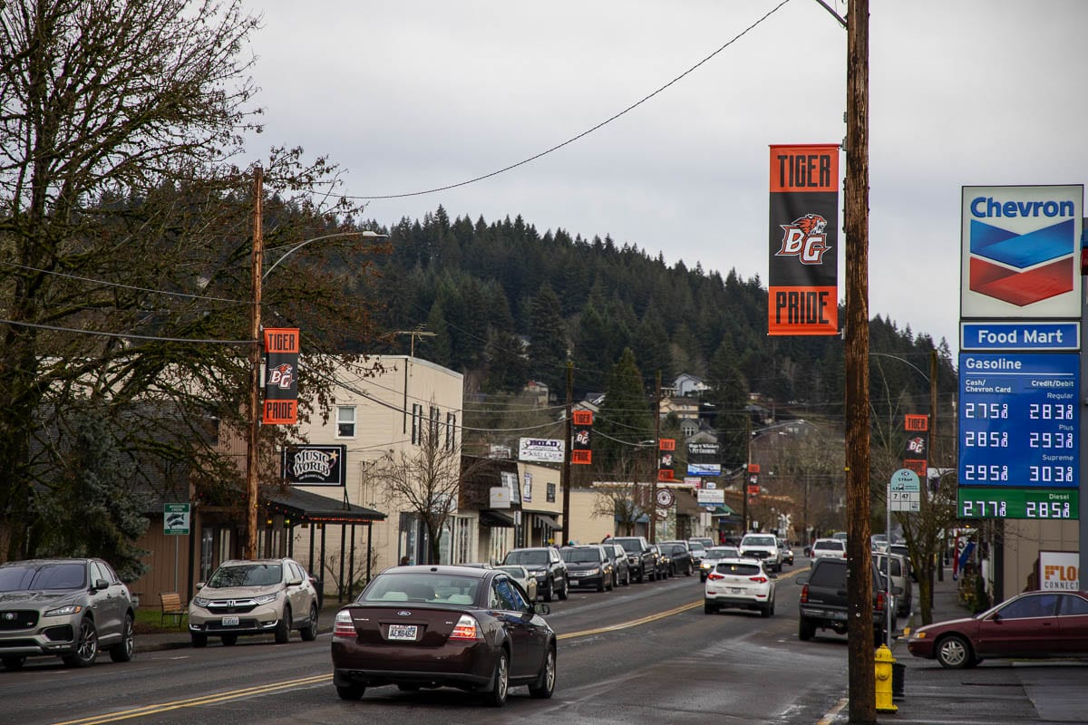 More than 80 power poles in Battle Ground's Old Town district now have banners on them. The city council is working on a plan to let people buy customized ones for graduation season, Memorial Day, and possibly Veterans Day. Photo by Chris Brown