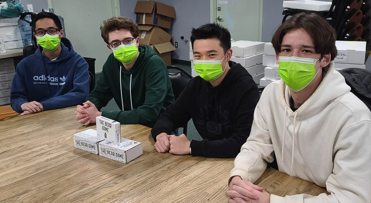 Steven Nguyen, Colton Harris, Austin Lee, and Joshua Helm created, designed, and marketed a new card game, The Bear Game, that is available. What started as a project during the summer is now a product at the local game shop BatCave Games in east Vancouver. Photo by Paul Valencia