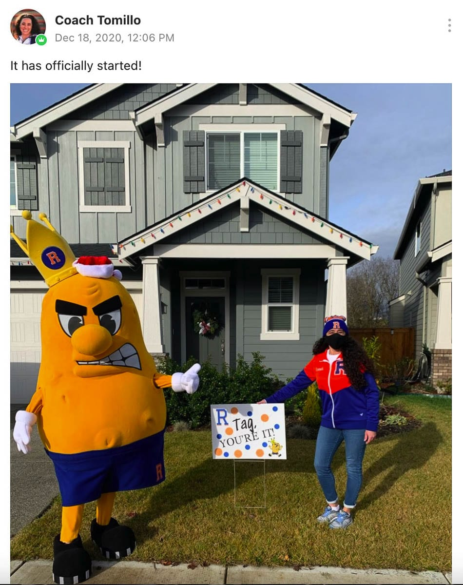 The Spudder mascot came to help with the first yard signs. Photo courtesy of Ridgefield School District