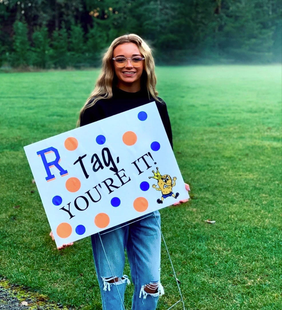 "Ridgefield High School cheerleader Rylie Simms showed she had been ""tagged."" Photo courtesy of Ridgefield School District"