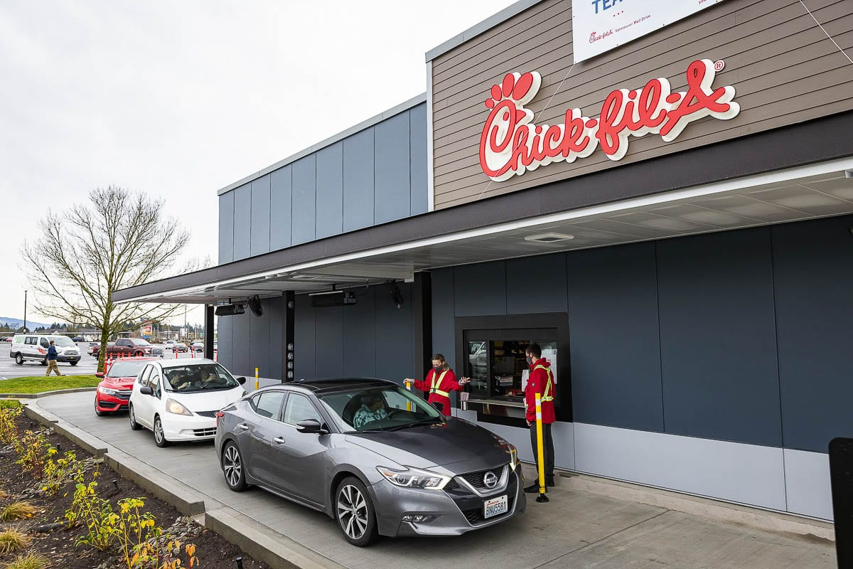 Now open! Chick-fil-A at the Vancouver Mall opened Thursday morning to enthusiastic customers. Photo by Mike Schultz