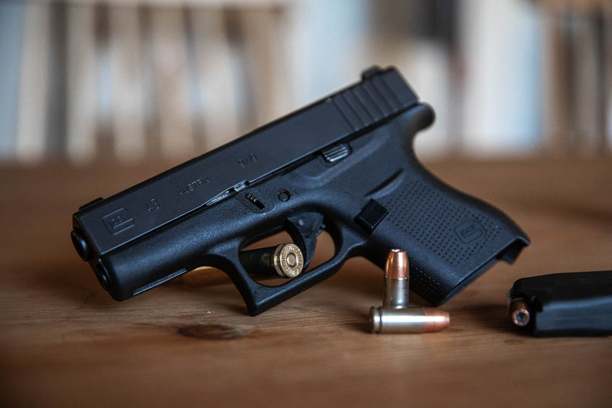 Compact pistols, such as this 9mm Glock 43, are commonly used as CPL guns as they can be carried with minimal holsters under clothing. Photo Illustration by Jacob Granneman