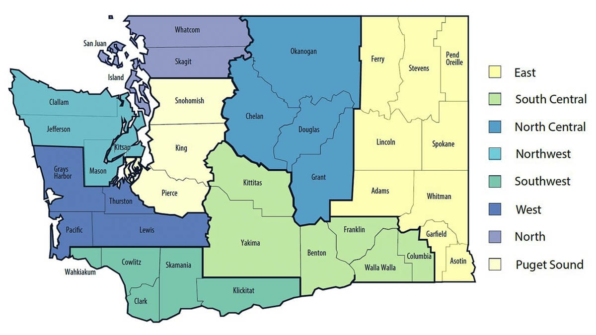The Healthy Washington reopening plan divides the state into eight regions for gauging COVID-19 activity. Image courtesy Office of Washington Gov. Jay Inslee