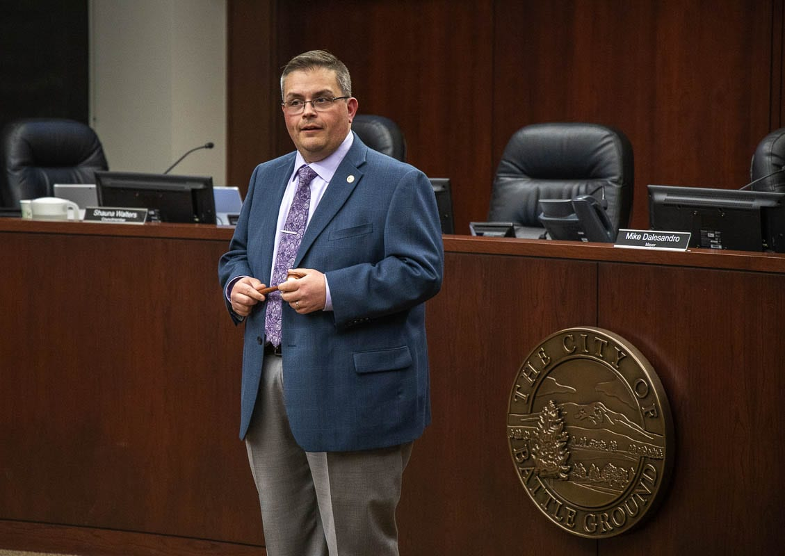 Battle Ground City Councilor Mike Dalesandro in early 2020 at a swearing-in ceremony for Mayor Adrian Cortes. Photo by Chris Brown