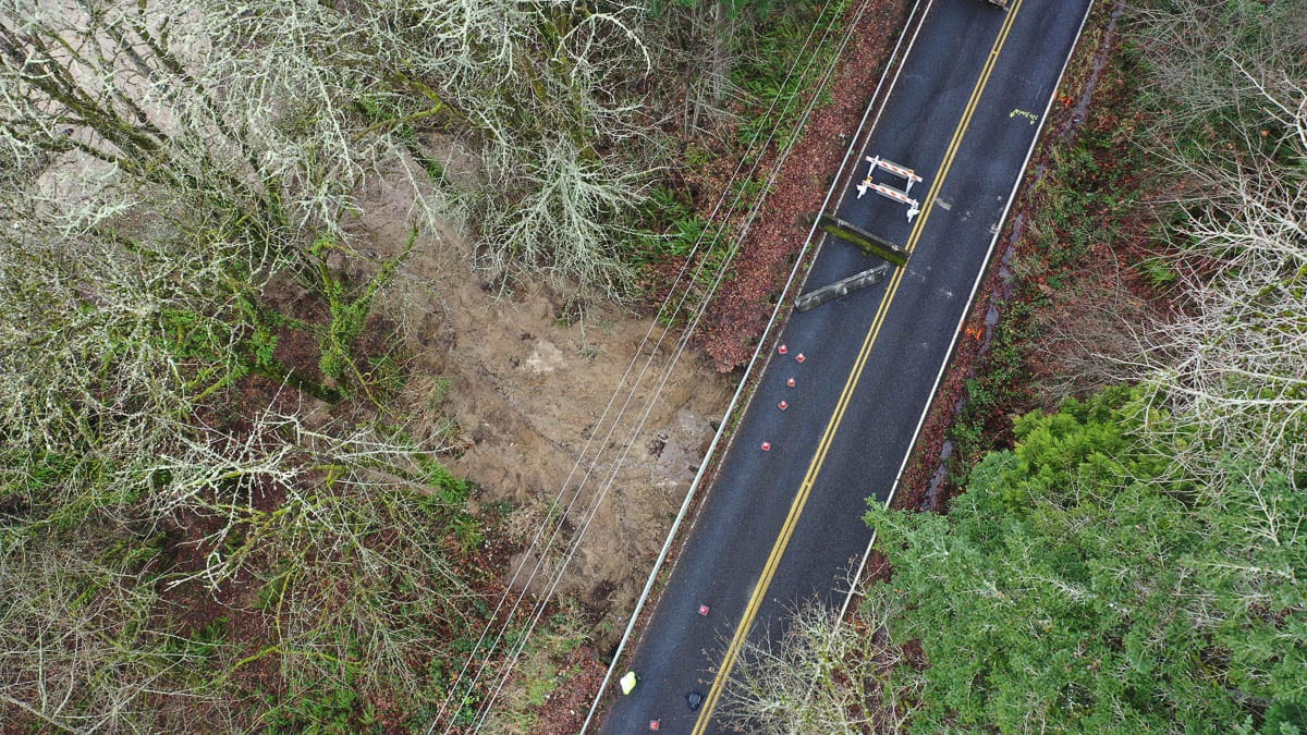After days of heavy rain, a culvert failed under this portion of Pacific Highway leading to a mudslide that has closed a 3.7-mile stretch of road. Photo courtesy of Clark County Public Works
